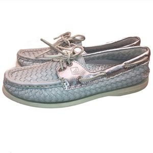 SPERRY Grey & Silver Woven Loafers Size 9